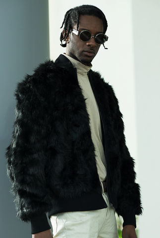 The New County | Black Elmer Faux Fur Bomber