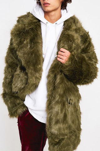 Khaki Henley Long-hair Oversized Faux Fur Coat