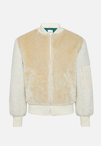 The Premium Off White Teddy Bear Faux Fur Bomber With Borg Sleeves - The New County