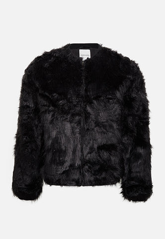 Black Elmer Faux Fur Bomber