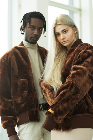 Brown Barker Faux Fur Bomber Jacket - The New County