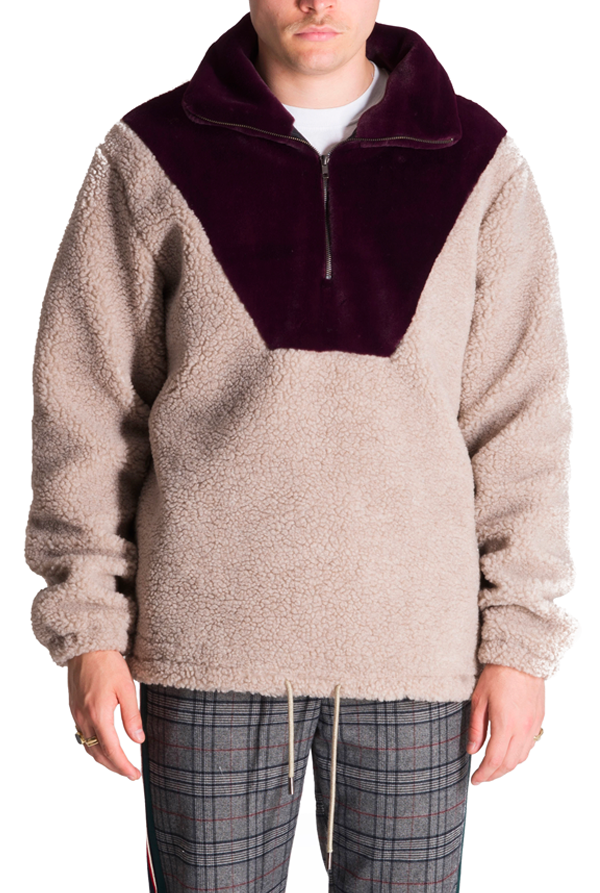 The Owens Burgundy High Neck Sweatshirt - The New County