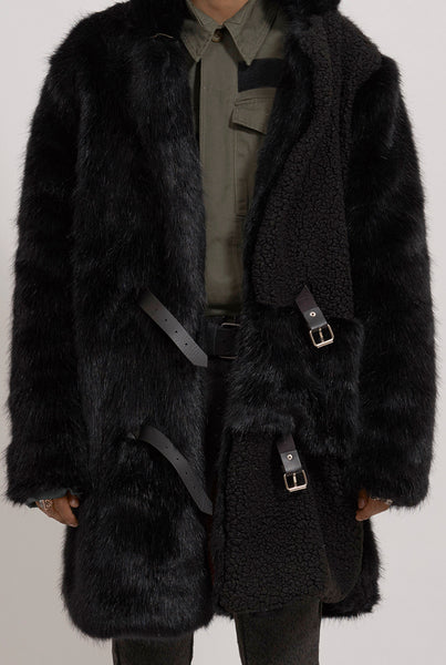 The New County Black Long hair Faux Fur Coat