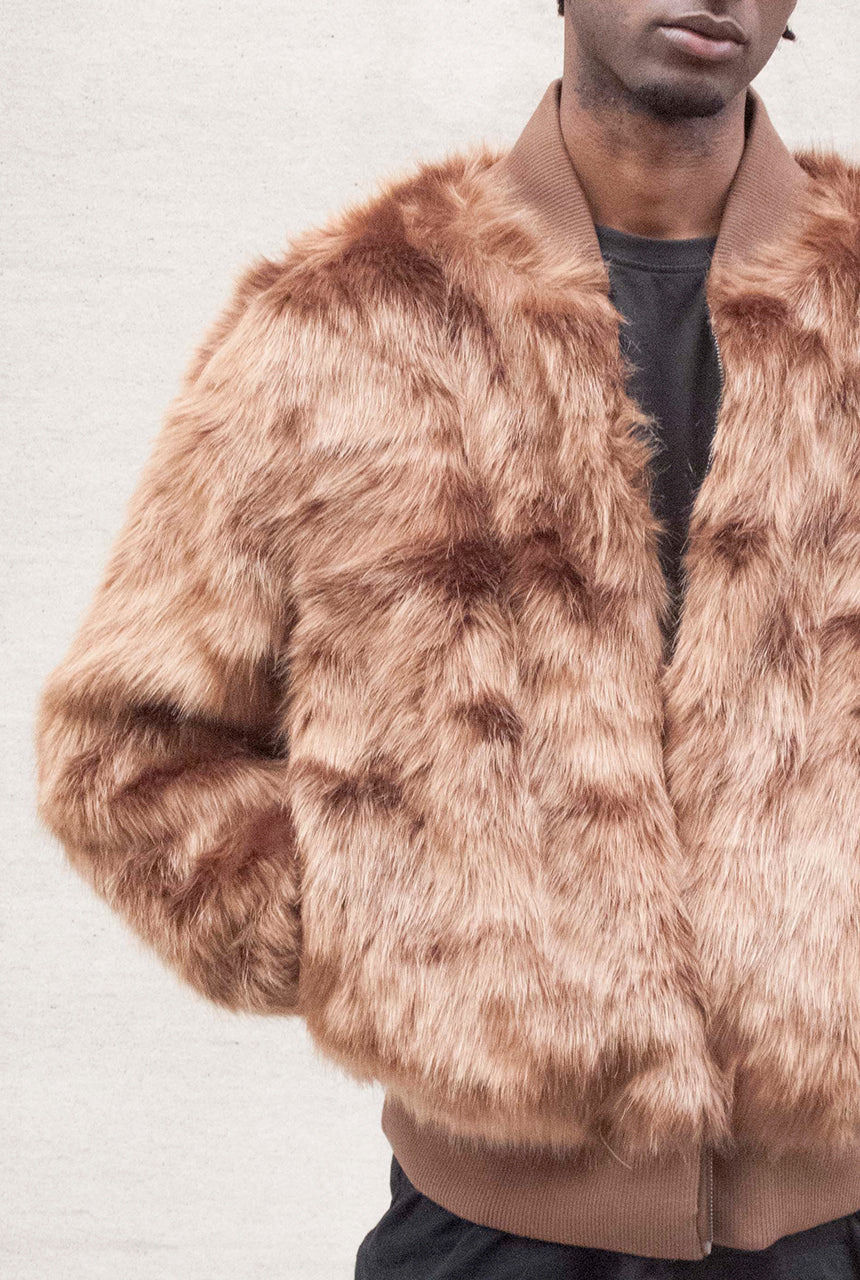 Brown Elmer Faux Fur Bomber Jacket - The New County