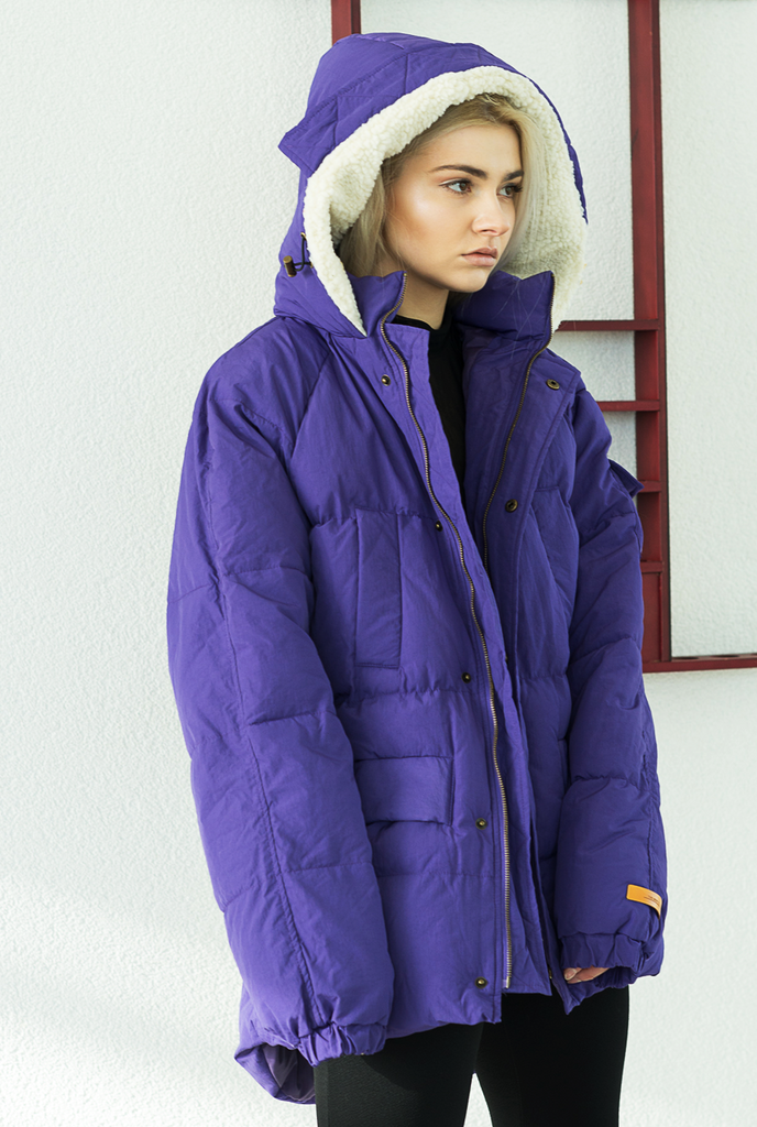 Purple Buckley Oversized Puffa Jacket - The New County