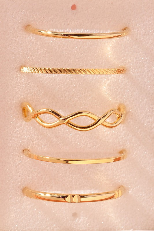 gold minimalist ring set geometric women's fashion