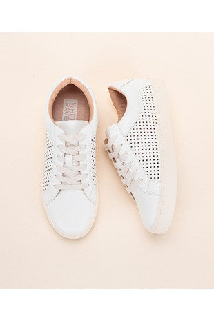 white platform sneakers perforated