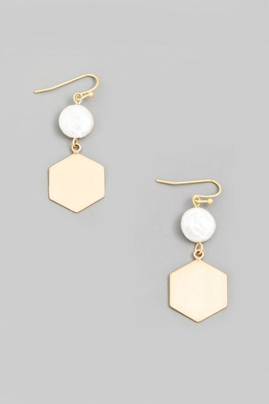 Pearl Hexagon Drop Earrings