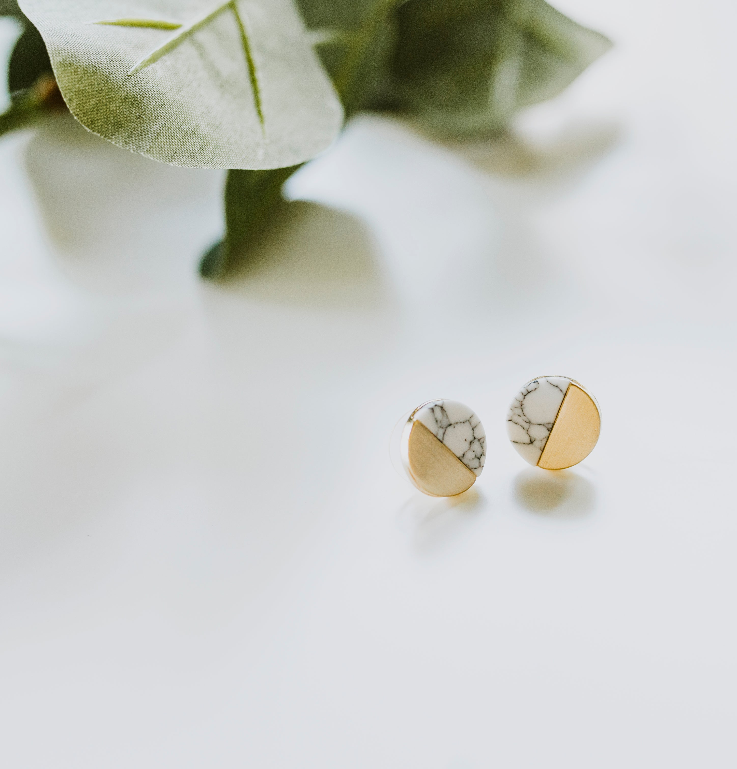 Marble and Gold Studs