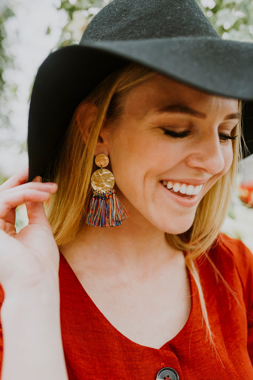 Multi Colored Tassel Earrings - blush-lane