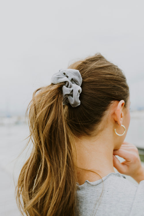 Grey Velvet Scrunchie