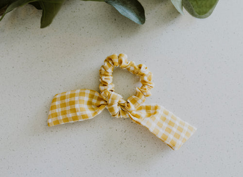 Mustard Gingham Bow Scrunchie