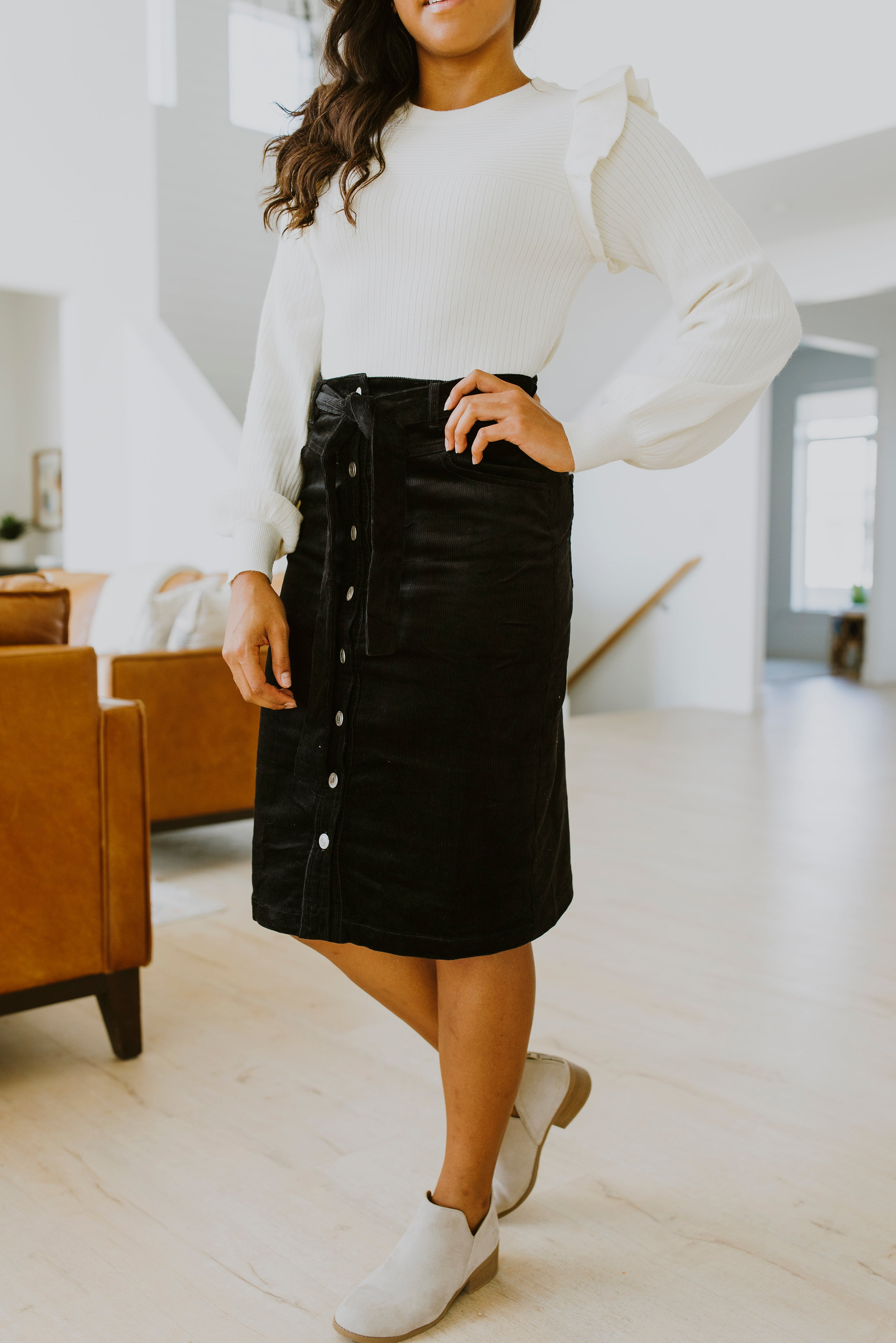 boutique, fall outfits, midi skirt outfit, corduroy skirt outfit, corduroy midi skirt, fall outfits 2020, corduroy midi skirt button front, corduroy midi skirt style, midi skirt outfit fall, fall 2020, skirts, outfit ideas, fall 2020 outfits, corduroy skirt knee length, corduroy skirt black, Utah Boutique, Fall fashion, online boutique, midi skirt, button down skirt, gift ideas, Christmas gift ideas