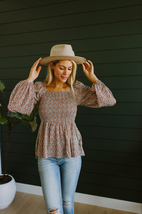 boutique, tops, peplum top outfits, fall outfits, cute tops, peplum top, puff sleeve top, puff sleeve peplum, puff sleeve peplum top, long sleeve peplum, fall, outfit ideas, cute fall outfits, fall 2020, puff sleeve shirt, tops peplum top outfits, tops peplum top, fashion, women's clothing, modest clothing, peplum top, smocked top, floral top, online boutique