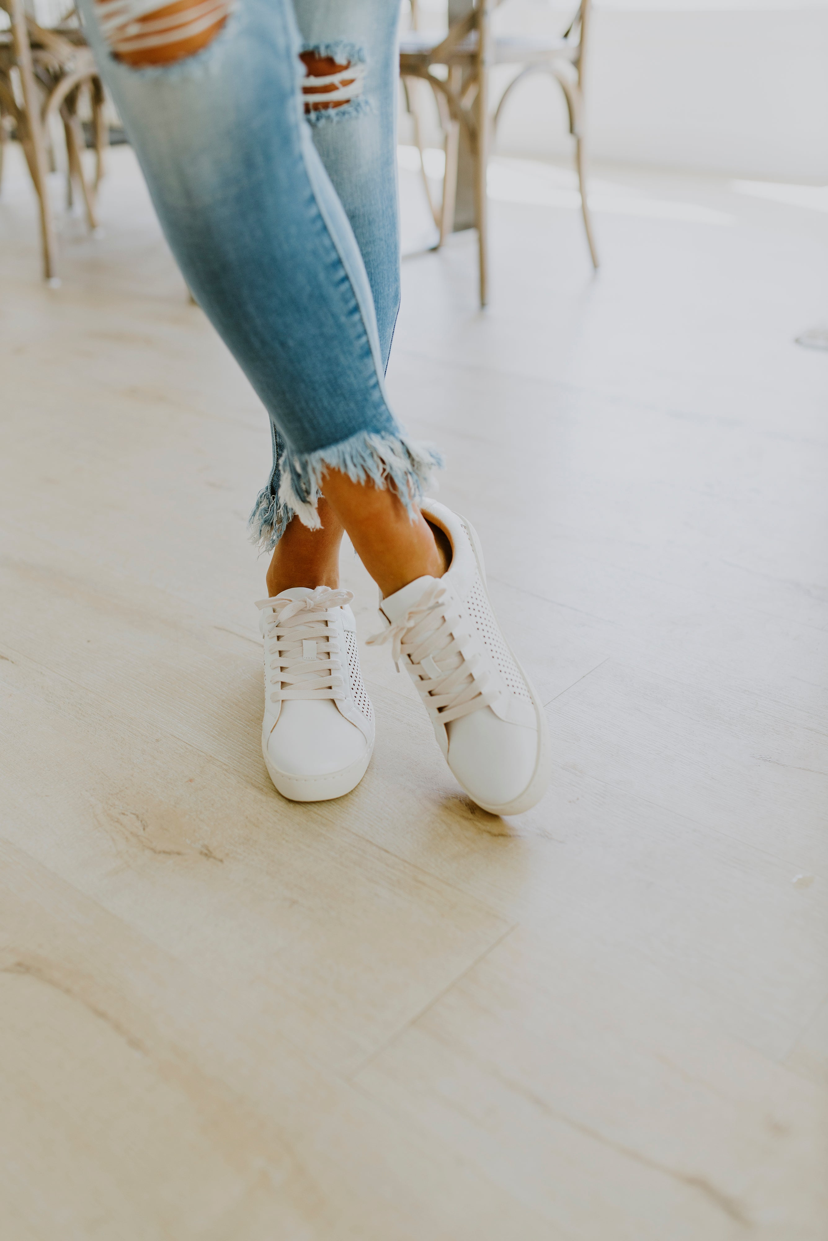 white perforated sneakers beige soles