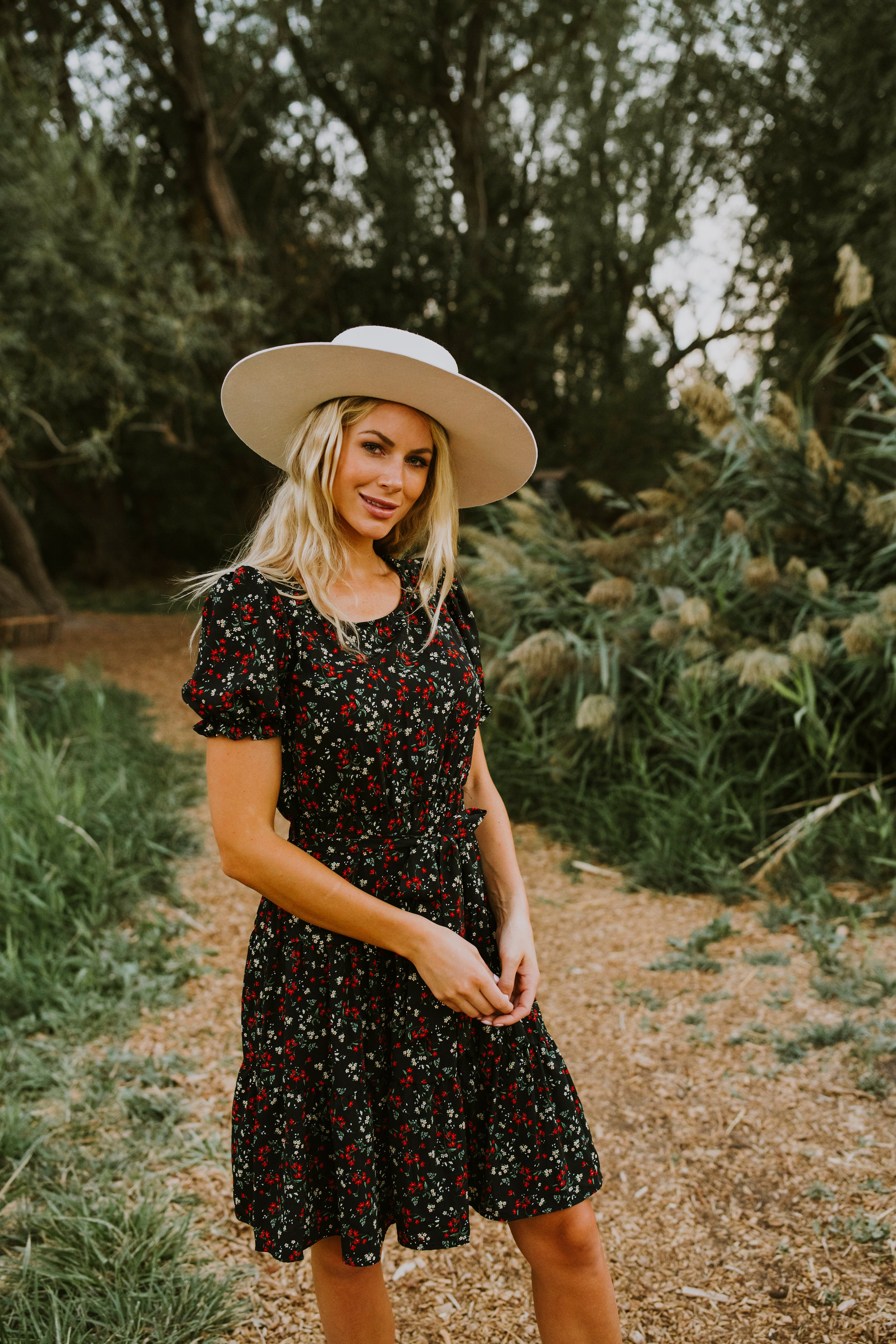 fall outfits, outfit ideas, dresses, cute fall outfits, midi dress, midi dress outfit, fall 2020, modest clothing, tiered midi dress with sleeves, black floral midi dress, midi floral dresses, modest midi dresses, cute fall outfits, family photo outfits, black midi floral dress, floral dress, women's dress, women's midi dress, women's fashion, floral midi dress for wedding, Utah Boutique, outfit ideas, tiered midi dress