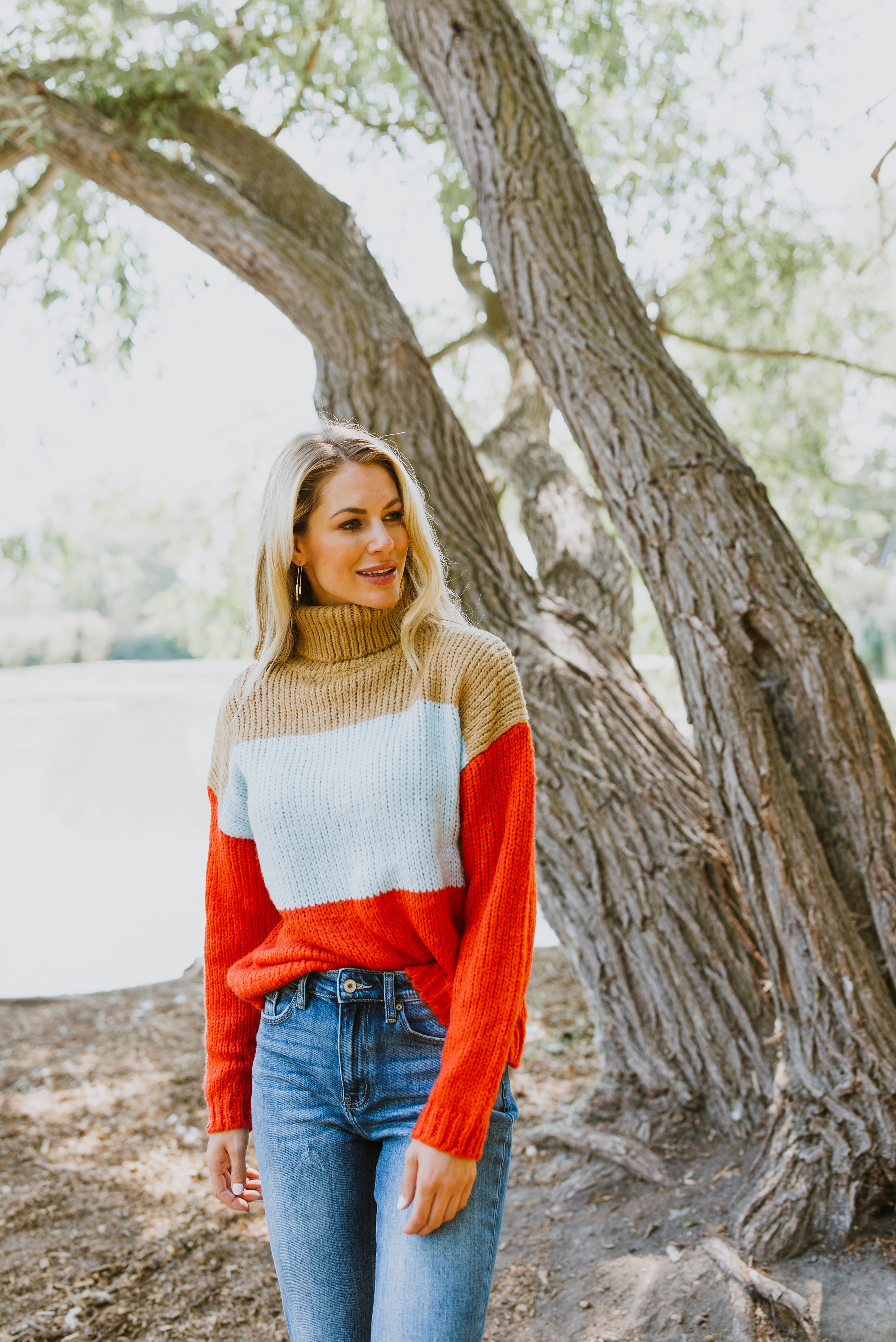fall sweaters color block sweater cute cozy soft