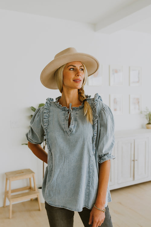fall outfits 2020 denim outfit denim ruffle top