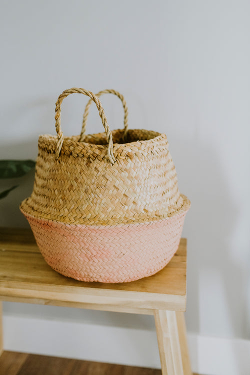 "Round Basket in Rose and Natural 13-3/4"" x 12-1/2"""