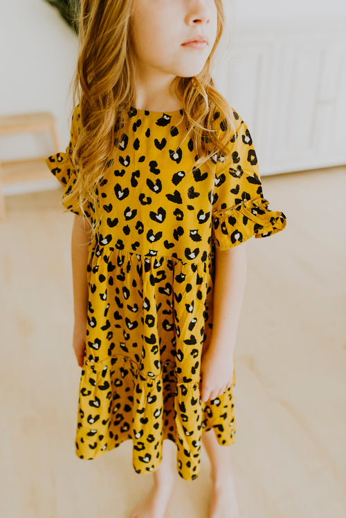 Girls Leopard Midi Dress