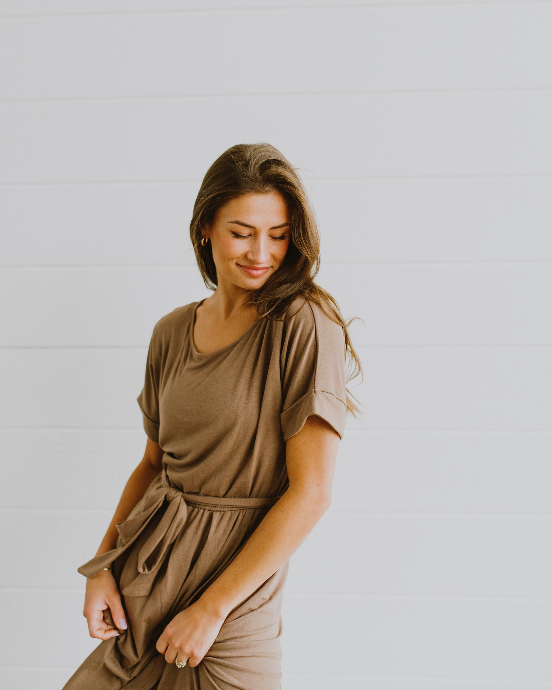 fall outfits mocha tulip dress