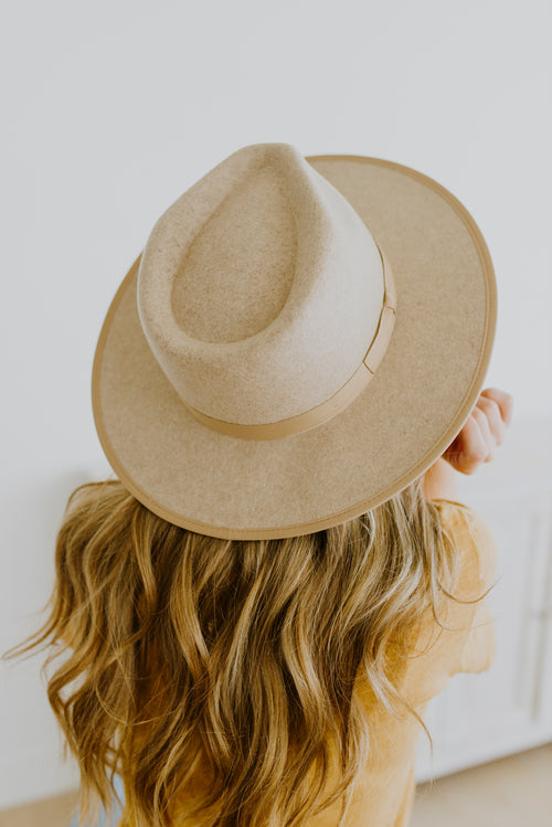 Oatmeal Wool Fedora Hat