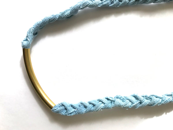 Eco friendly necklace blue brass made in California