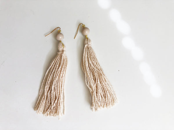 Eco friendly earrings - beige