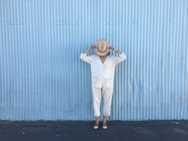 Tie dye jumpsuit in beige cream by Happy French Gang