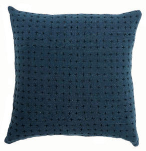 Reversible pillow Indigo & mustard 18x18in