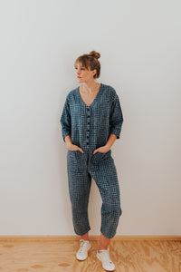 Check Indigo Jumpsuit