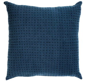 Reversible pillow indigo & himalayan 28x28in