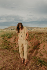 Short Sleeve Light Mustard Jumpsuit