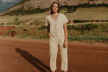 Short Sleeve Light Champagne Jumpsuit