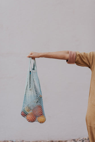Blue string French market bag