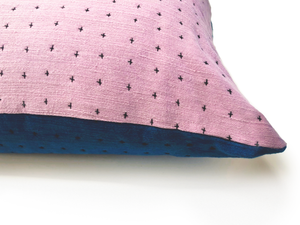 Reversible Pillow Indigo & Lavender 28x28in