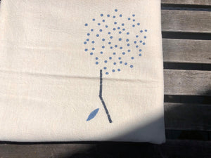 White and Blue Dandelion Summer Throw