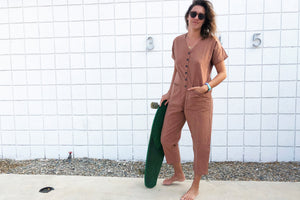 Short Sleeve Light Terracotta Jumpsuit