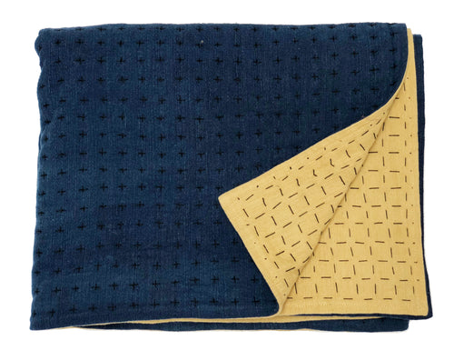 Throw indigo & mustard 2 sizes
