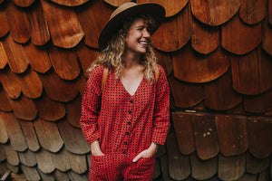 Madder and Black Dots Jumpsuit
