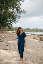 Short Sleeve Light Indigo Jumpsuit