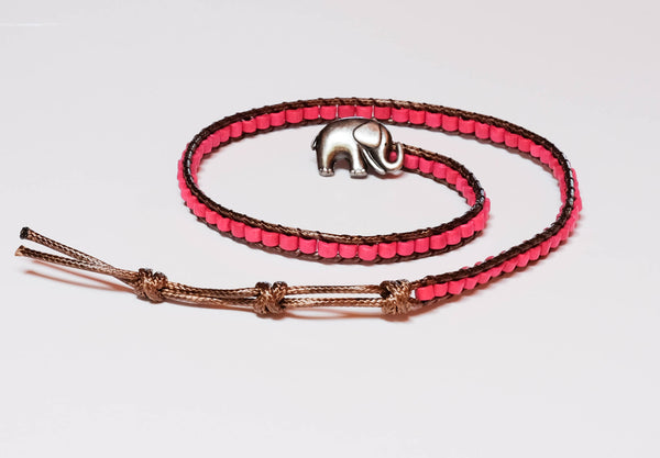 Rose Wood Elephant Bead Bracelet