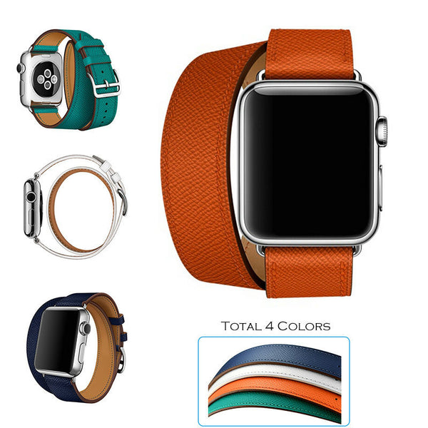 Double tour band, high quality genuine leather, compatible with Apple Watch - Compatible with Apple watch bands and accessories