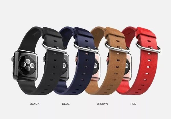 Luxury genuine leather band, metal buckle, compatible with 38MM / 42MM  Apple Watch - Compatible with Apple watch bands and accessories