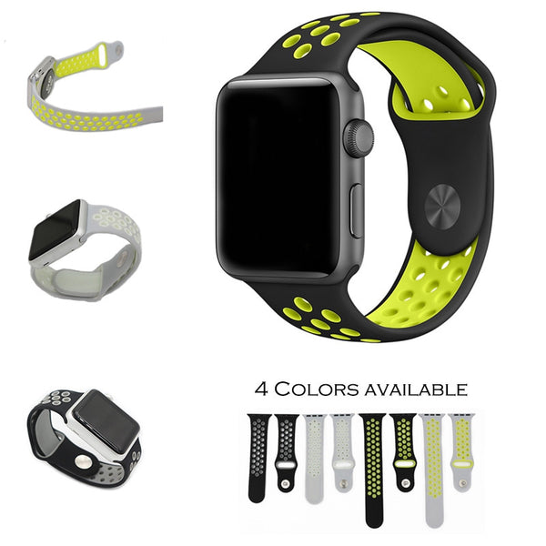 Flexible breathable silicone sport band compatible with 38mm/42mm Apple Watch - Compatible with Apple watch bands and accessories