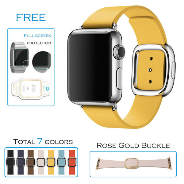 Modern buckle band for Apple Watch smooth top-grain leather with magnetic closure 7 colors - Apple watch bands and accessories