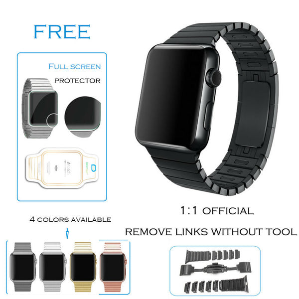 Link bracelet band with butterfly closure compatible with Apple Watch - Compatible with Apple watch bands and accessories