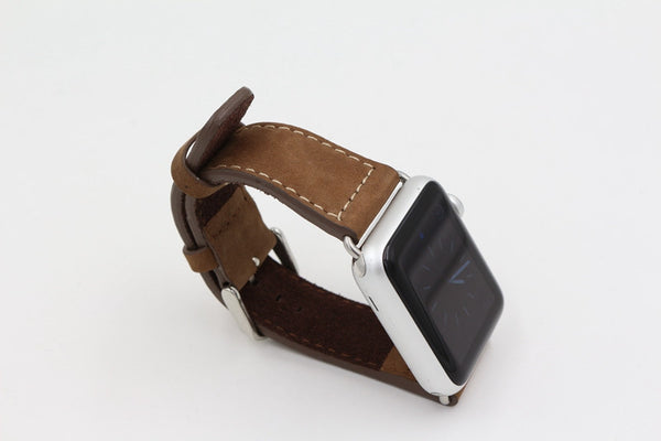 Chicago collection genuine leather band with stainless steel buckle compatible with Apple Watch - Compatible with Apple watch bands and accessories