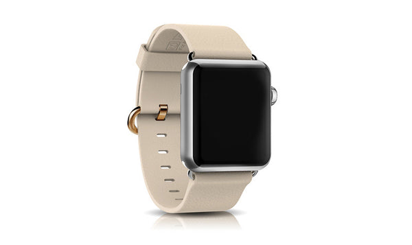 Genuine leather band, silver and gold clasp, compatible with Apple Watch - Compatible with Apple watch bands and accessories