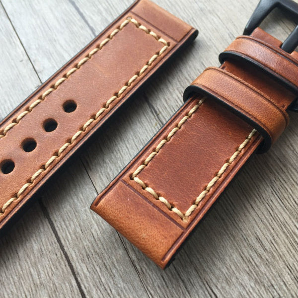 Panerai style high quality handmade Retro Leather Band - Compatible with Apple watch bands and accessories